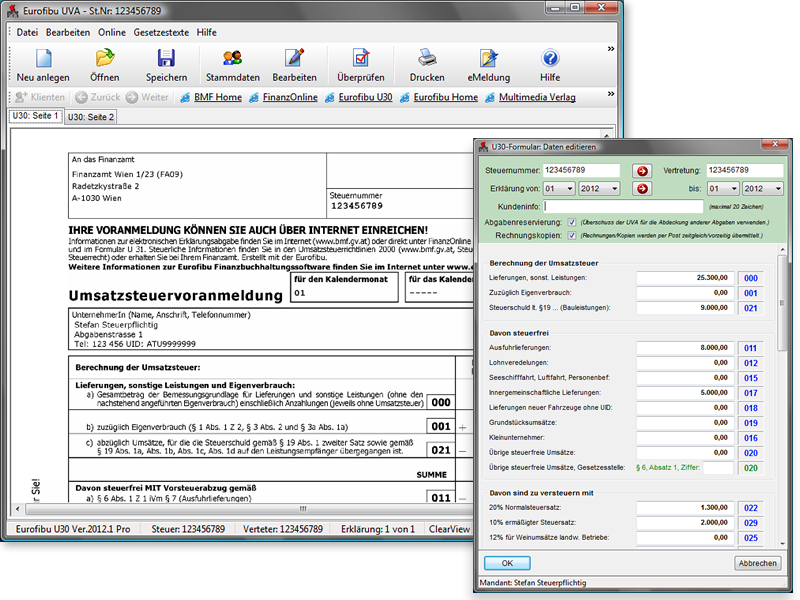Eurofibu Die Osterreichische Buchhaltungssoftware Umsatzsteuervoranmeldung